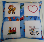 PERSONALISED EMBROIDERED CUSHION WITH ANIMALS THEME - (Sheep, Train and Horse)